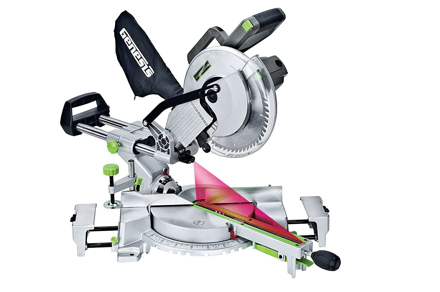Genesis GMSDR1015LC 15-Amp 10-Inch Sliding Compound Miter Saw, Grey