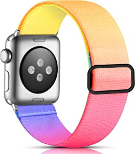 Getino Adjustable Elastic Band Compatible with Apple Watch 40mm Series 6 5 38mm iWatch 3 4 SE 2 1 Bands, Soft Cute Sport Woven Strap for Women Girls Men, Gradient Color