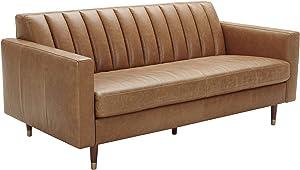 "Amazon Brand – Rivet Damien Mid-Century Modern Channel-Tufted Apartment Sofa, 75""W, Leather, Cognac"