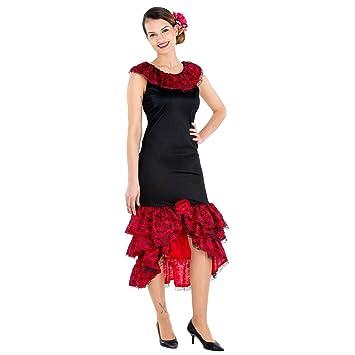 dressforfun Disfraz de flamenca bailarina de tango para mujer | precioso vestido largo con volantes en