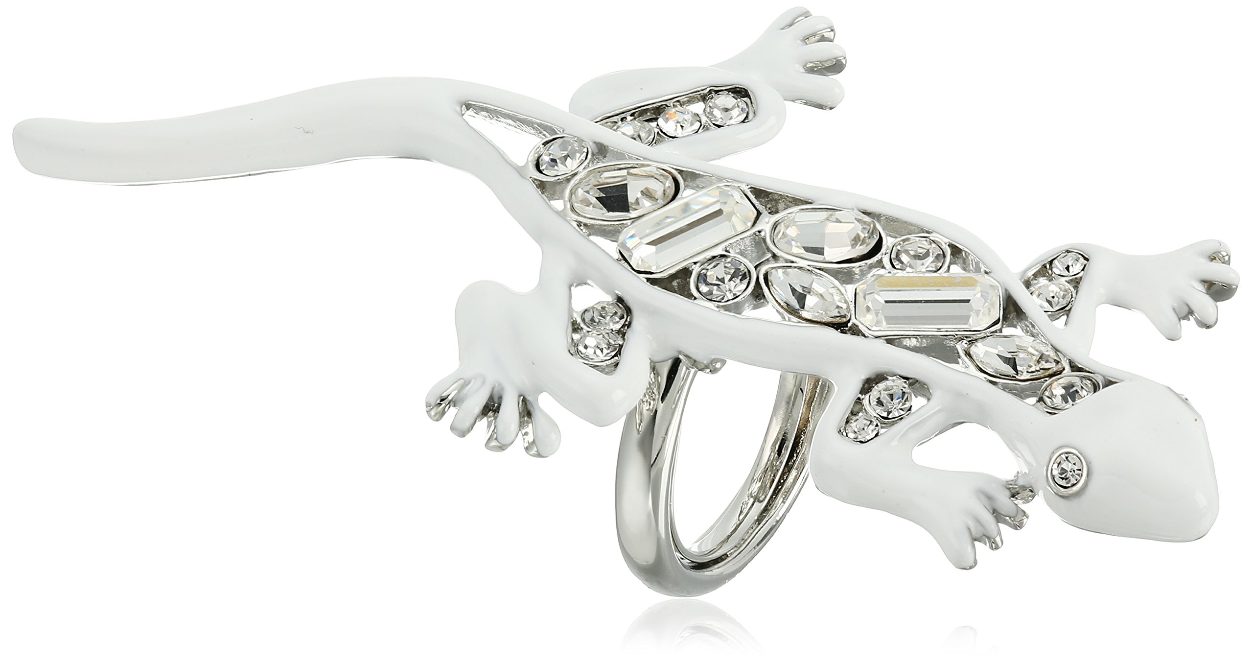 Kenneth Jay Lane White Enamel and Crystal Lizzard Ring, Size 5-7 by Kenneth Jay Lane (Image #1)