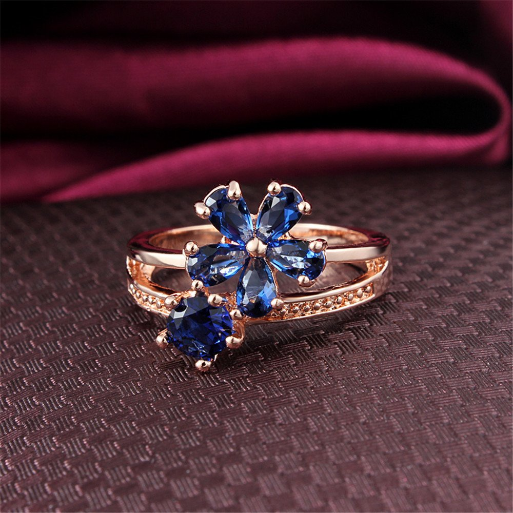 Women's Stacking Ring Pave Cubic Zircon Eternity Promise Ring Flower Top Infinity Wedding Band by 17maimeng (Image #3)