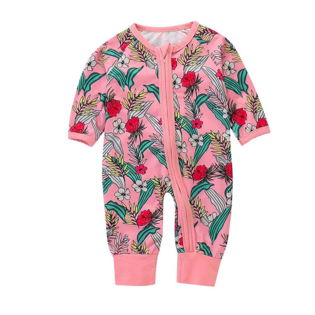Clearance Sale! Baby Jumpsuit, Iuhan Baby Cotton Romper Banana Pajamas Sleepwear Long Sleeve Floral Print Jumpsuit Newborn Outfits (6Months, Pink) Iuhan ®