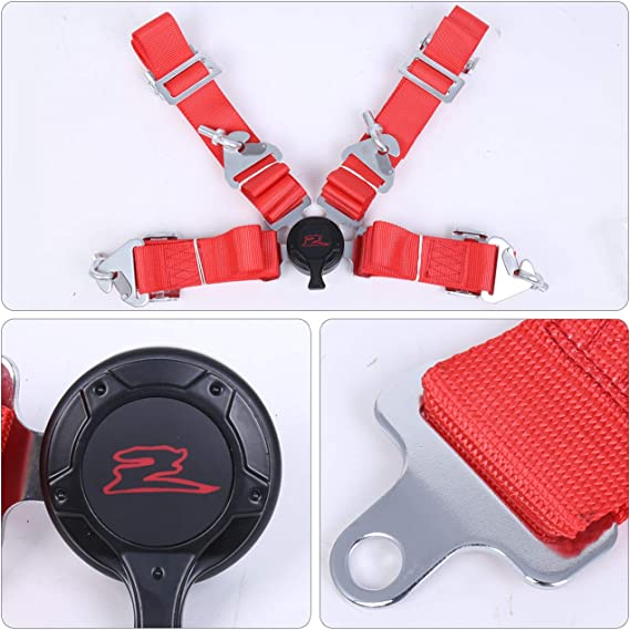 EPARTS 2 Pieces Universal Durable 2 Red Nylon Strap 5 Point Cam Lock Seat Buckle Sport Racing Safety Harness Seat Belt