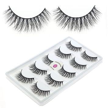 d5c87c6b484 Amazon.com : New 5 Pairs/Box 3D Real Mink False Eyelashes LASGOOS Design  100% Siberian Mink Fur Luxurious Natural Cross Fake Eye Lashes Daily Eye  Makeup ...