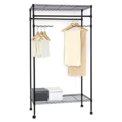 Kinbor Metal Black Closet Organizer Clothes Hanger Utility Storage Rack,  W/Wheels