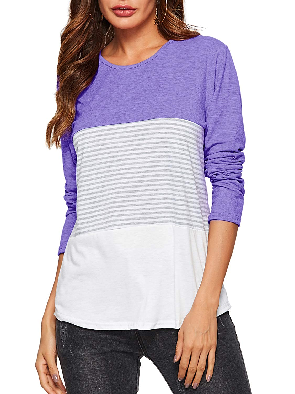 Florboom Womens Tshirts Plain V Neck Short Sleeve Loose Basic Long T Shirts