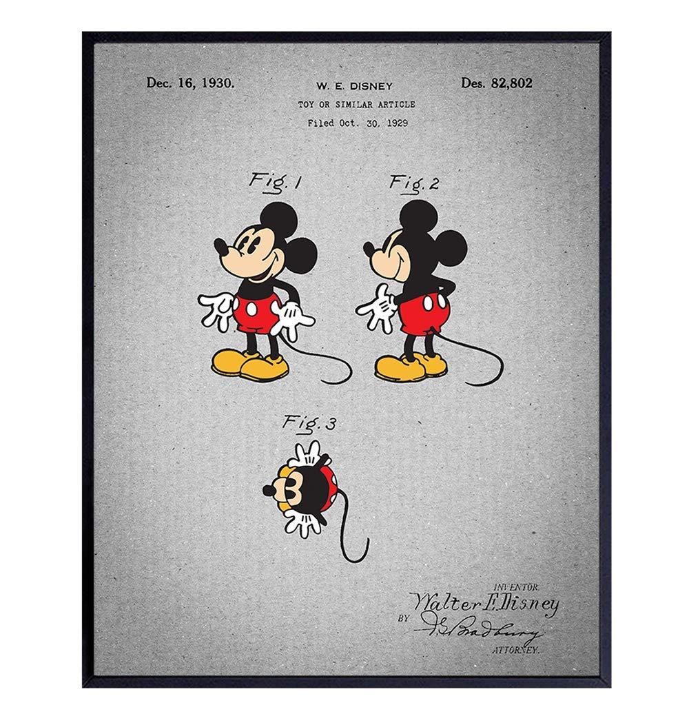 Wall Decor Disney Vintage Mickey Mouse 1930 Patent Art Print Unframed