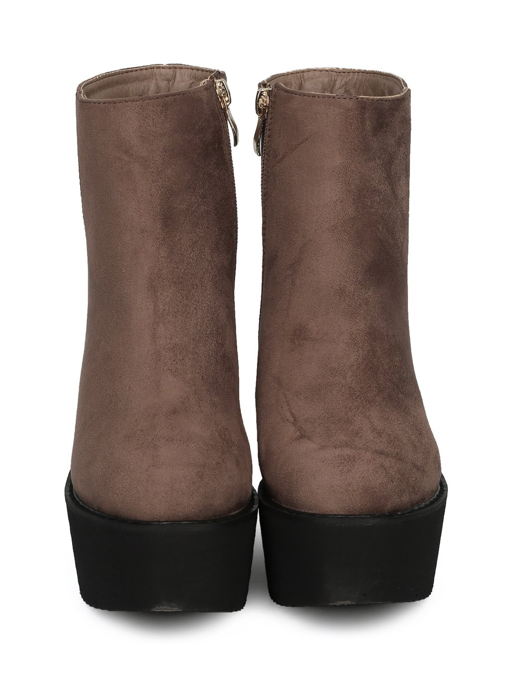 Indulge Hebe-I Women Round Toe Platform Creeper Ankle Bootie HE66 - Taupe Faux Suede (Size: 7.0) by Indulge (Image #3)