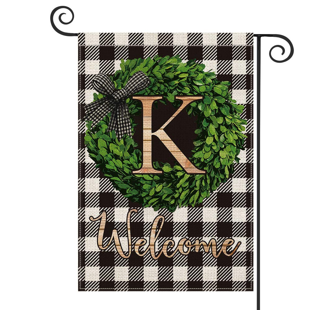 AVOIN Boxwood Wreath Monogram Initial Family Last Name K Garden Flag Vertical Double Sided, Welcome Buffalo Check Plaid Rustic Farmhouse Flag Yard Outdoor Decoration 12.5 x 18 Inch