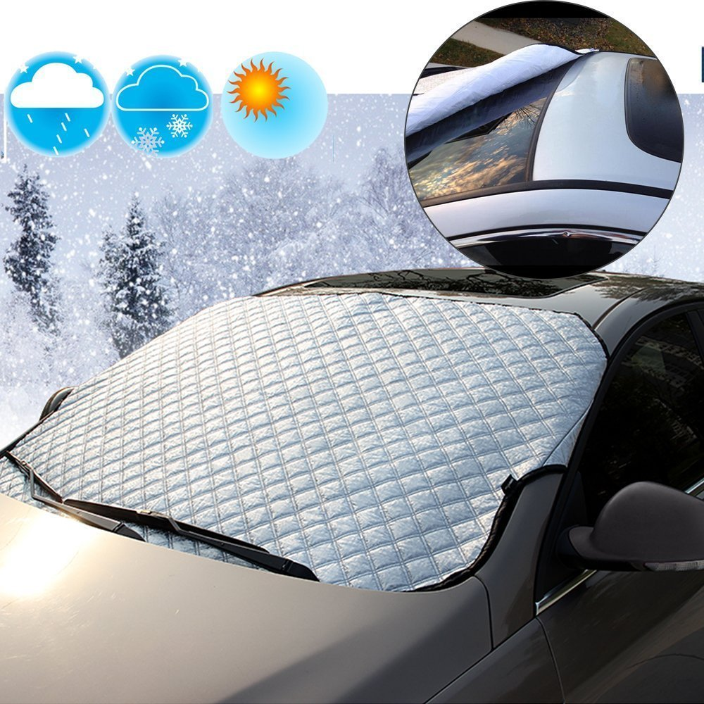 Samjat Car Windshield Snow Cover & Sun Shade Protector Heavy Duty Ultra Thick Protective Windscreen Cover - Snow Ice Frost Sun UV Dust Water Resistent -Fit for Most Vehicle 57.09'× 38.98' Samjat Technology