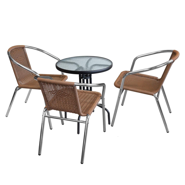 Wohaga 4tlg. Sitzgruppe Glastisch Ø60cm rund + 3 x Aluminium Stapelstuhl Poly-Rattanbespannung Silber/Natur Bistrostuhl Campingstuhl Terrassenstuhl Gartenstuhl