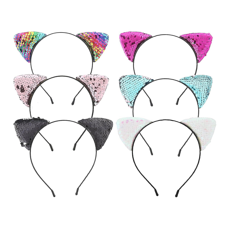 Cat Ears Headband for Girl - 7Pcs Devil Cat Headband Girls Paper Flower Hairbands AWAYTR