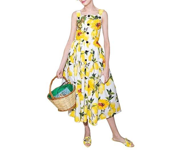 Design Women Dresses Sweet Lemon Single Breasted Spaghetti Strap Slim Woman Dress Pleated Female Vestidos De