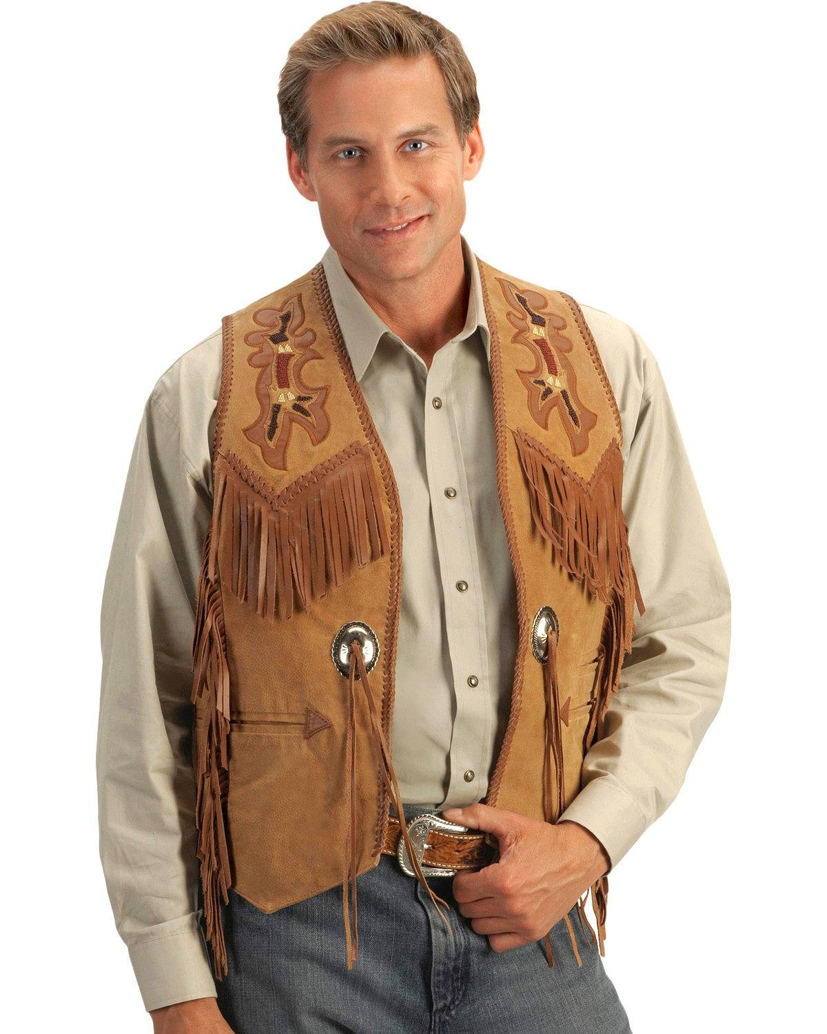 Scully Men's Beaded Boar Suede Leather Vest Tan 44 R