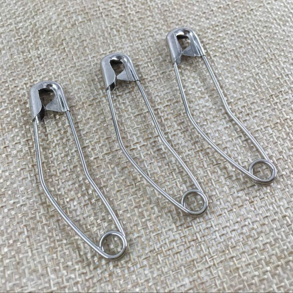 Nickel-Plated Steel,1.97in//50mm 100 Pcs Silver Curved Safety Pins Quilting Basting Pins