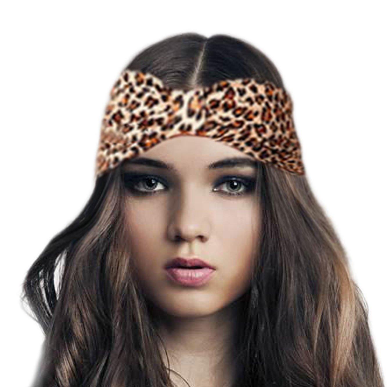 Brown Animal Leopard Print Headband Stretch Elasticated Bandeaux 8cm wide