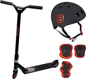 Protection complète trottinette rouge et noir avec casque