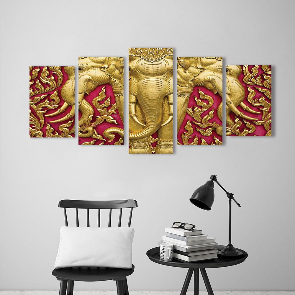 Modern Decorative Artwork Elephant Dressing With Thai Kingdom Tradition Pagoda in Ayuthaya Extralong Home Decorations for Living Roo 5 Panels by Nalahome