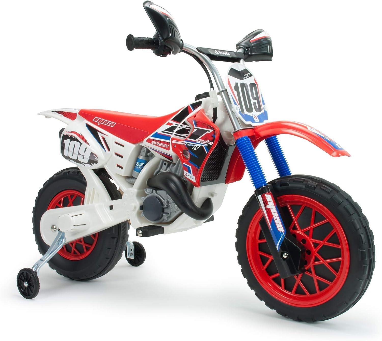 INJUSA - Moto Cross a Batería de 6V para Niños de +3 con Bandas de Goma en Rueda Motriz y Acelerador en Puño