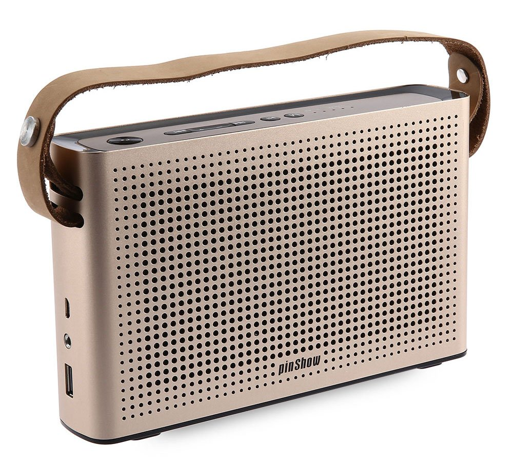 PINSHOW Goldentime Cowhide Strap Portable Bluetooth 4.0 Wireless Speaker Support Power Bank Function (golden) by PINSHOW (Image #2)