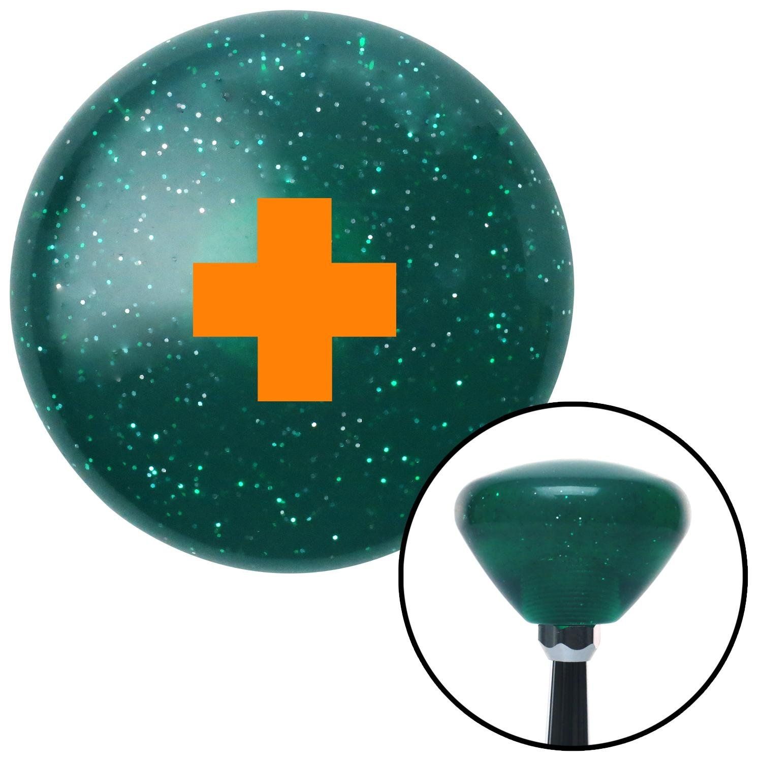 American Shifter 291571 Shift Knob Orange Cross Green Retro Metal Flake
