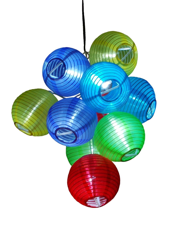 amazoncom solaration solar party decorations fairy lights with 10 color lanterns japanese outdoor fabric lanterns garden u0026 outdoor
