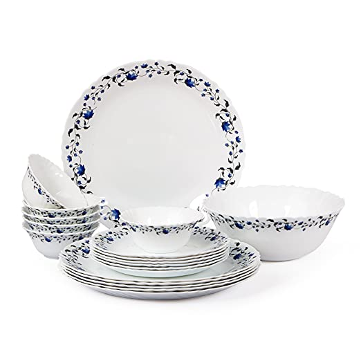 Cello Imperial Vinea Opalware Dinner Set, 19 Pieces, White