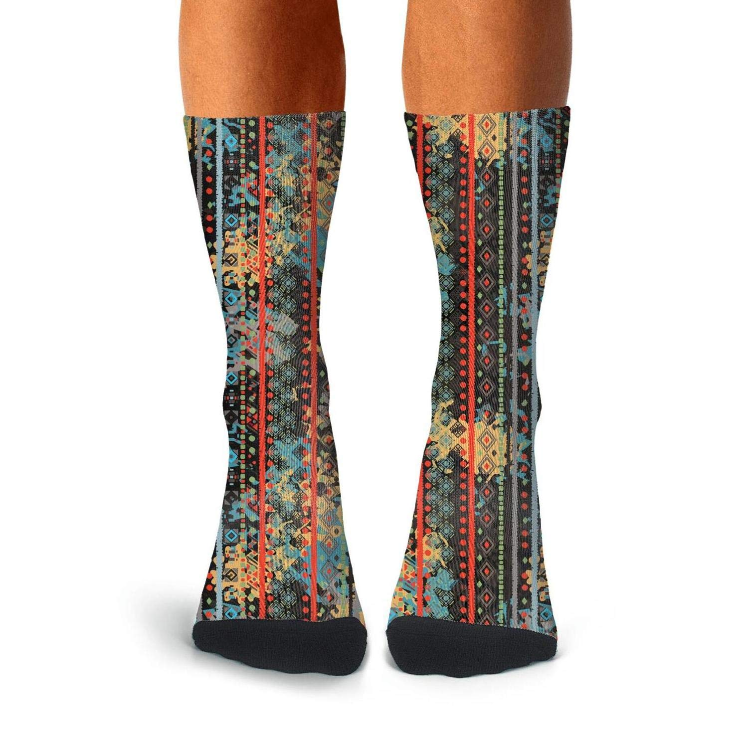 Mens Athletic Cushion Crew Sock Boho Tribal Art Colorful Long Sock Comfort