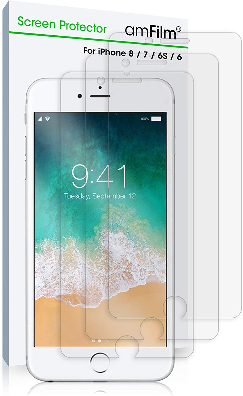 amFilm Screen Protector for iPhone SE (2020), 8, 7, 6S, 6 (3 Pack) Anti-Glare, Matte, Flex Film, Case Friendly
