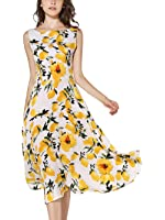 KIMILILY Women's Sleeveless Summer Lemon Printed Party Garden Swing Dresses ¡­