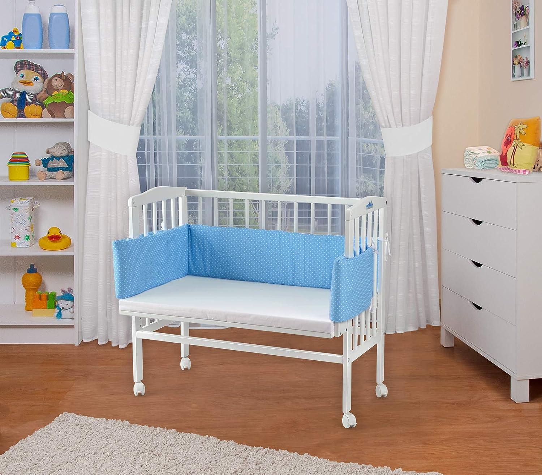 WALDIN Lit cododo pour b/éb/é//berceau avec matelas et tour de lit,bois blanc laqu/é,16 mod/èles disponibles,Surface de couchage extra large L 90 x l 55,couleur du textile bleu