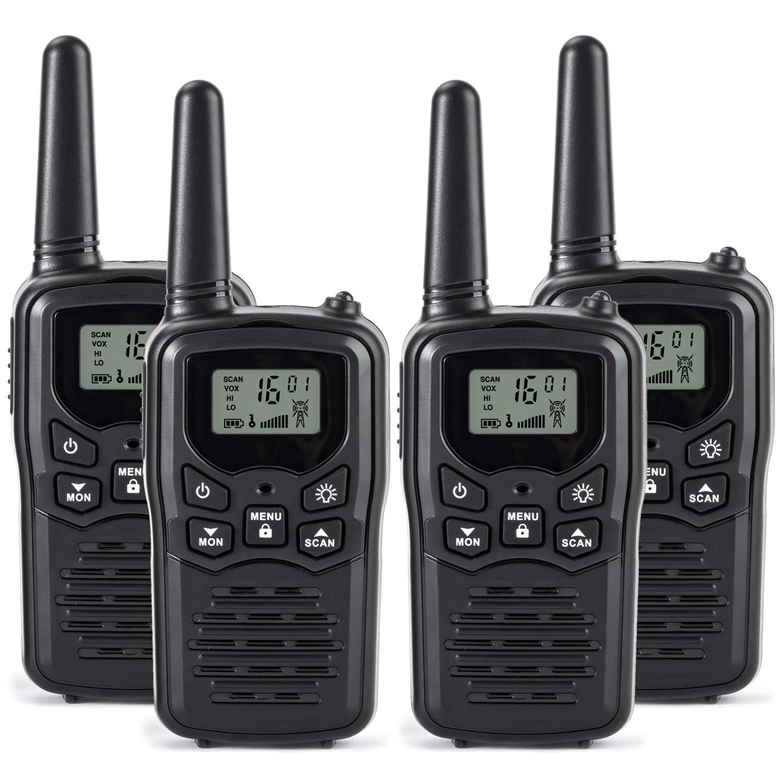 Rivins RV-7 Walkie Talkies Long Range 4 Pack 2-Way Radios Up to 5 Miles Range in Open Field 22 Channel FRS/GMRS Walkie Talkie UHF Handheld Walky Talky (Black/Orange) by Rivins
