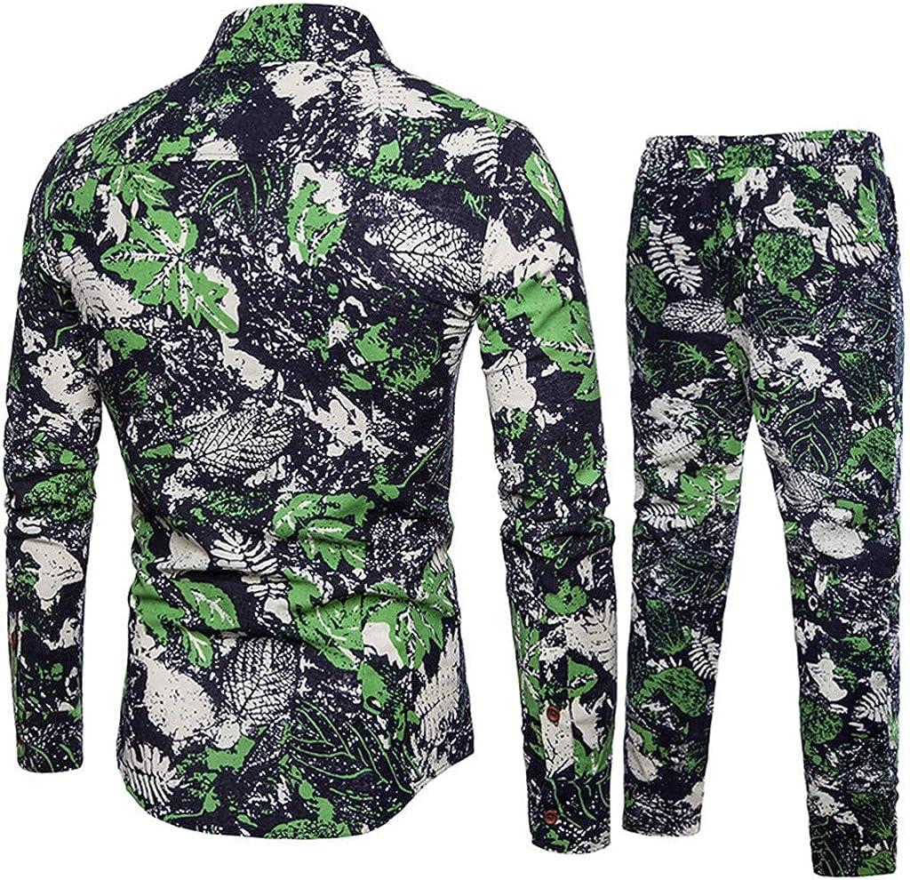 Mens Casual Business Slim Fit Shirt Print Top+Pants Set Zoilmxmen Mens Green Leaf Print Casual Clothing Set