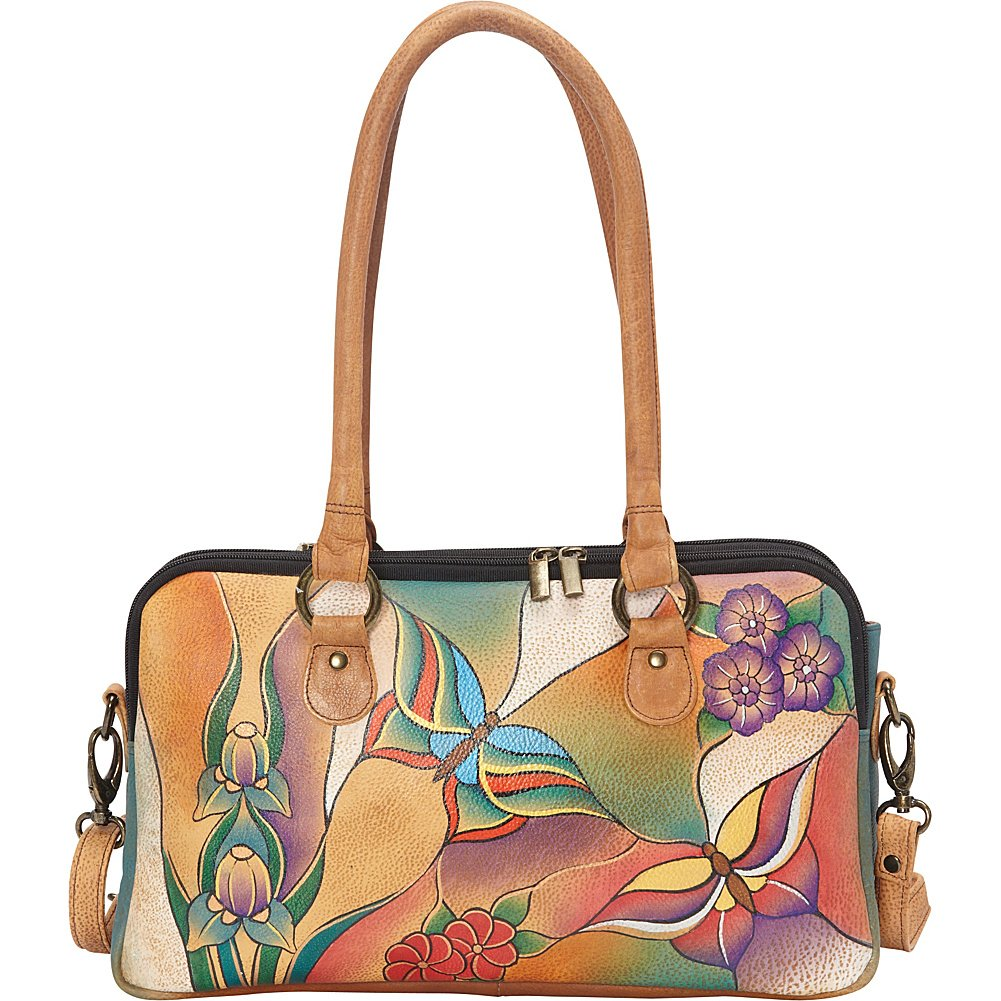Anuschka Anna by Handpainted Leather Large Multi Comparment Satchel, Butterfly Glass Painting by Anna by Anuschka