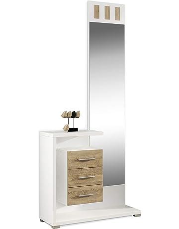 HomeSouth - Recibidor con Espejo y Tres cajones, Mueble de Entrada Acabado en Blanco y