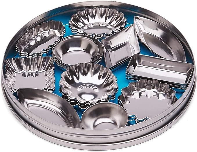 Small Fox Run 44460 Set of 6 Mini Tart Pans Silver