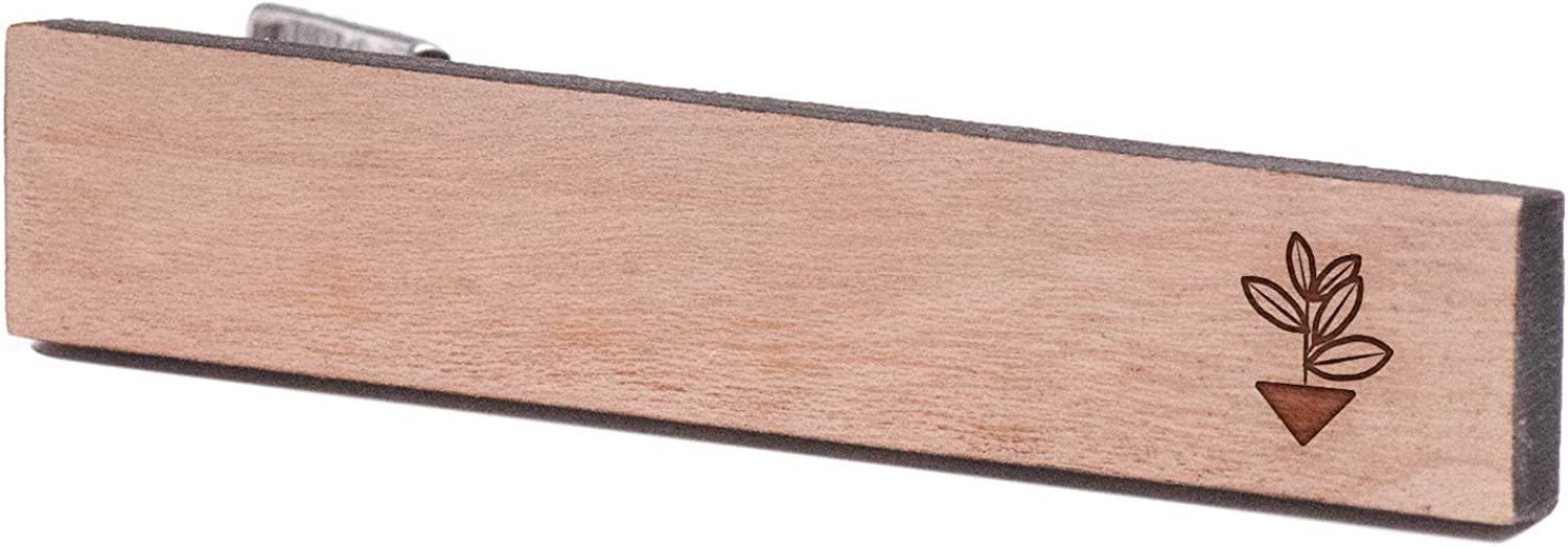 Cherry Wood Tie Bar Engraved in The USA Wooden Accessories Company Wooden Tie Clips with Laser Engraved Bay Leaf Design
