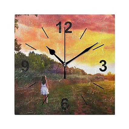 Amazon.com: Double Joy Wall Clock Square Sunlight Trees ...