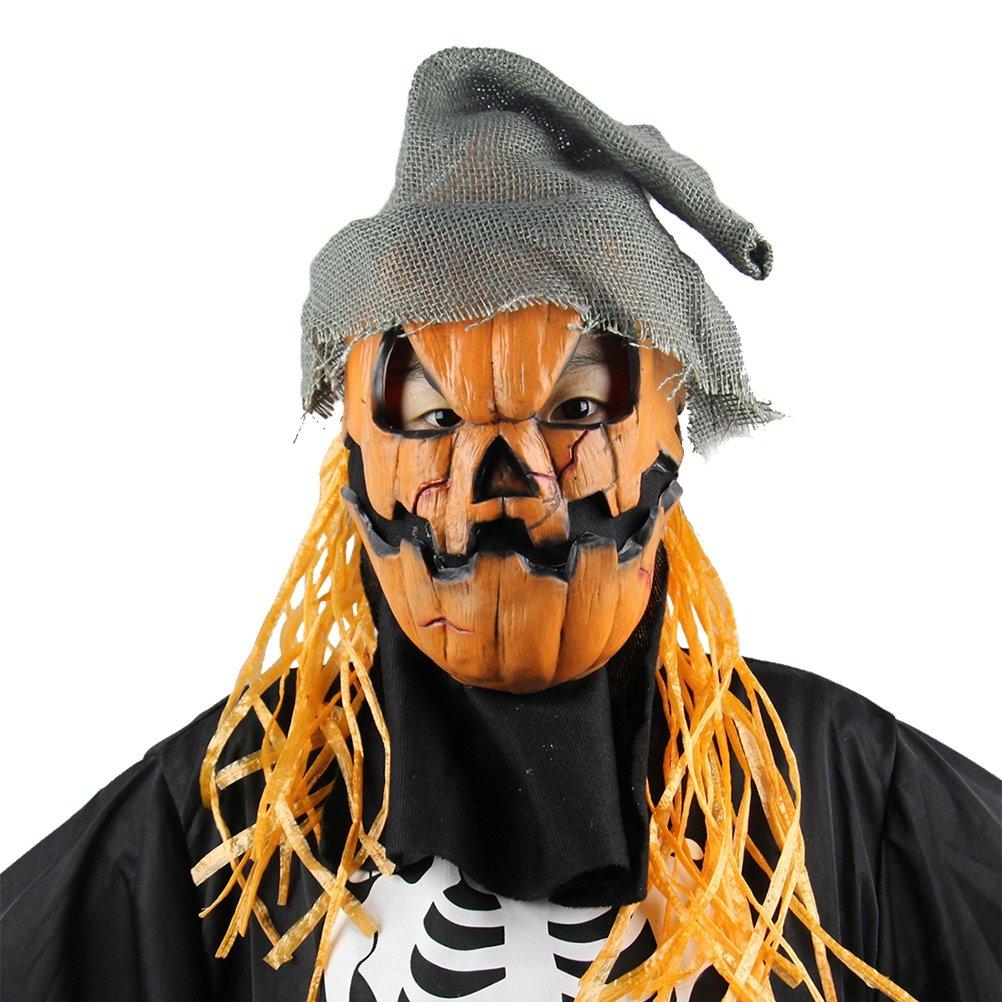 Amosfun Máscara de Disfraces de Halloween Máscaras de Espeluznante Accesorios de Fiesta Calabaza de Látex Máscara de espantapájaros con Sombrero (Naranja): ...