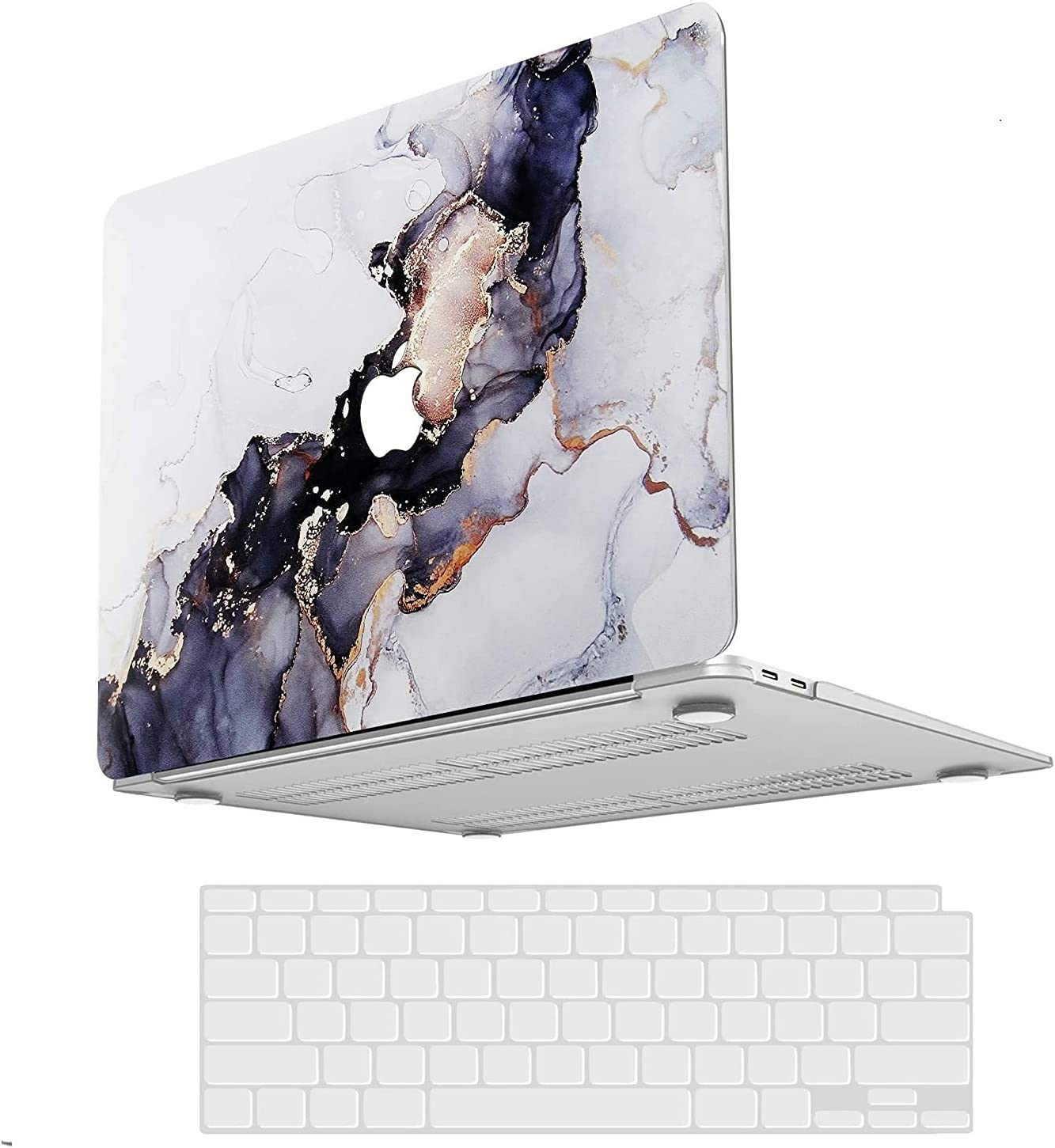 MacBook Pro 13 Inch Case 2020 2021 2019 2018 2017 2016 Release M1 A2338 A2251 A2289 A2159 A1989 A1706 A1708, Laptop Case Hard Shell + 3 Keyboard Cover Compatible for Apple MacBook Pro Touch Bar Marble