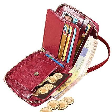 Cartera Mujer Cuero ENONEO Monedero Mujer Pequeño RFID con 8 Ranuras para Tarjetas y Billetes Billeteras Mujer Piel con Bolsillo de Monedas Carteras ...