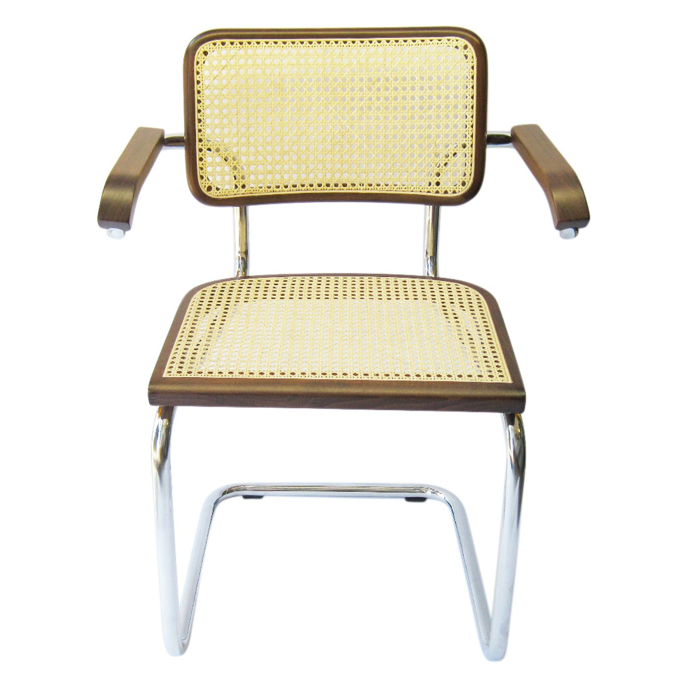 Amazon Marcel Breuer Cesca Cane Chrome Arm Chair in Walnut