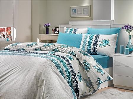 Camila Blau Double Luxus Bettwäsche Set Mit Spannbettlaken Für