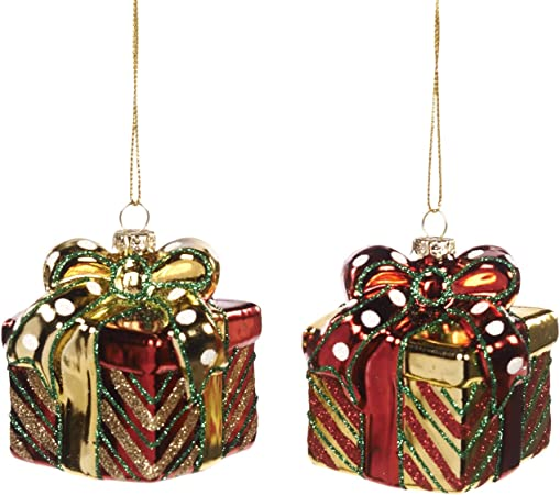 Addobbi Natalizi Goodwill.Goodwill Set Di 2 Decorazioni Natalizie Per Albero Di Natale A Forma Di Pacco Regalo Colore Rosso E Oro Amazon It Casa E Cucina