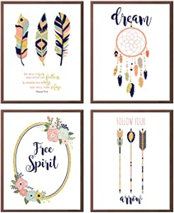 Silly Goose Gifts Free Spirit Boho Tribal Themed Pink Navy Teal Wall Room Art Prints (Set of 4: Psalm)