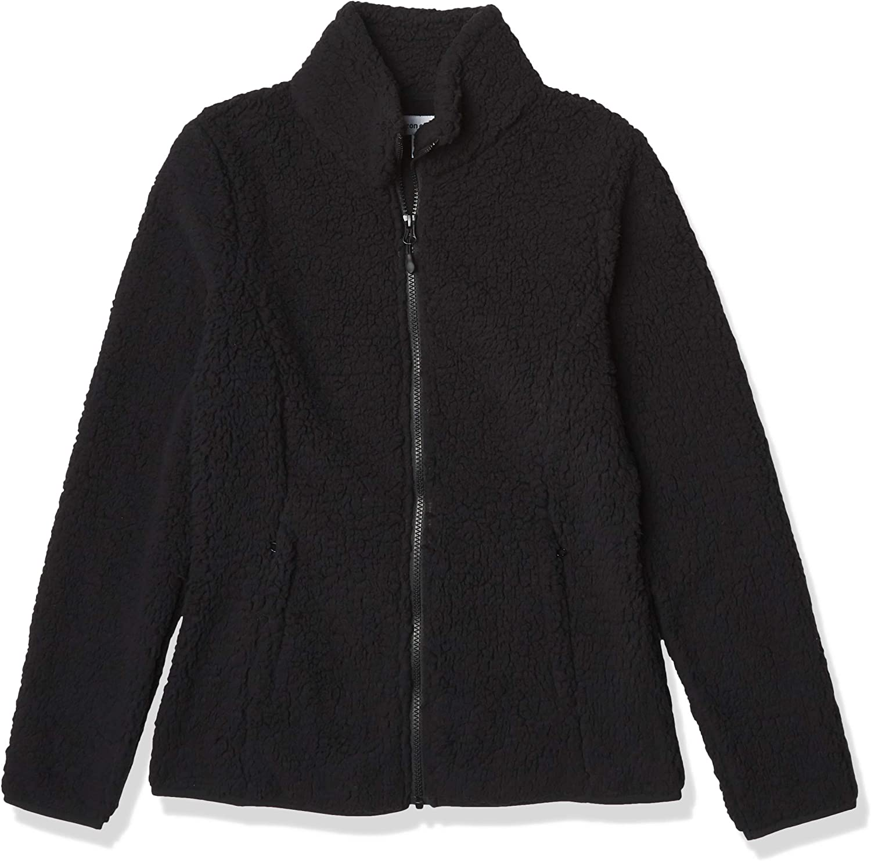 Essentials Women's Polar Fleece Lined Sherpa Full-Zip Jacket: Clothing