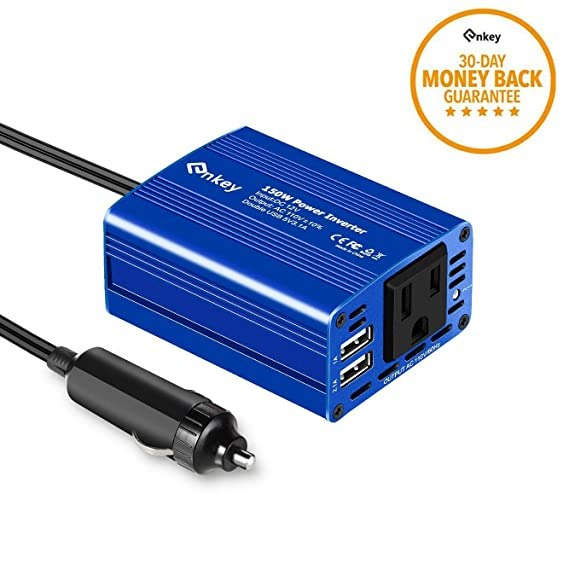 Enkey 150W Car Power Inverter DC 12V to 110V AC Converter with 3 1A Dual  USB Charger - Blue
