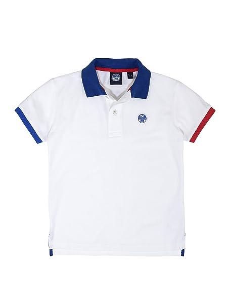 NORTH SAILS Niños Camiseta del Polo en Blanco con Logotipo ...
