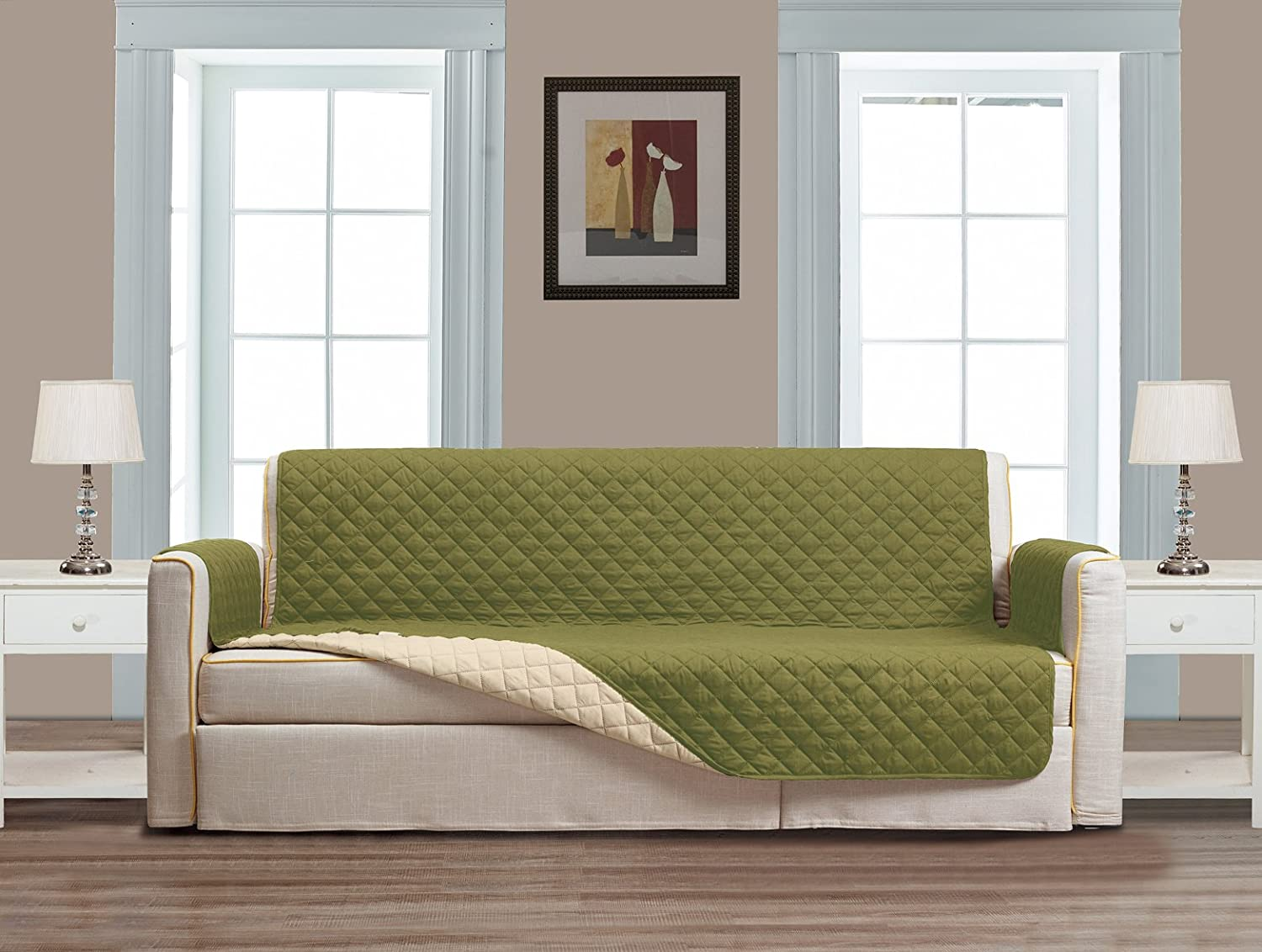 (Loveseat, Sage Green / Beige) - Superior Quality Reversible Loveseat Cover 230cm X 190cm -Furniture Protector For Pets, Kids, Dogs-Large Sofa, Standard Sofa, Loveseat, Recliner and Chair (Loveseat-Sage Green / Beige)   B071KLPD2V